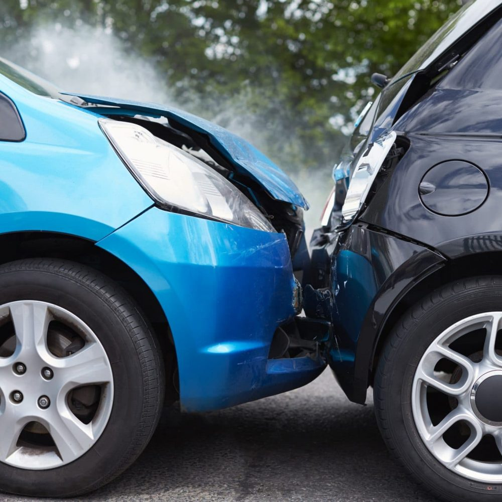 388CEDA Close Up Of Two Cars Damaged In Road Traffic Accident